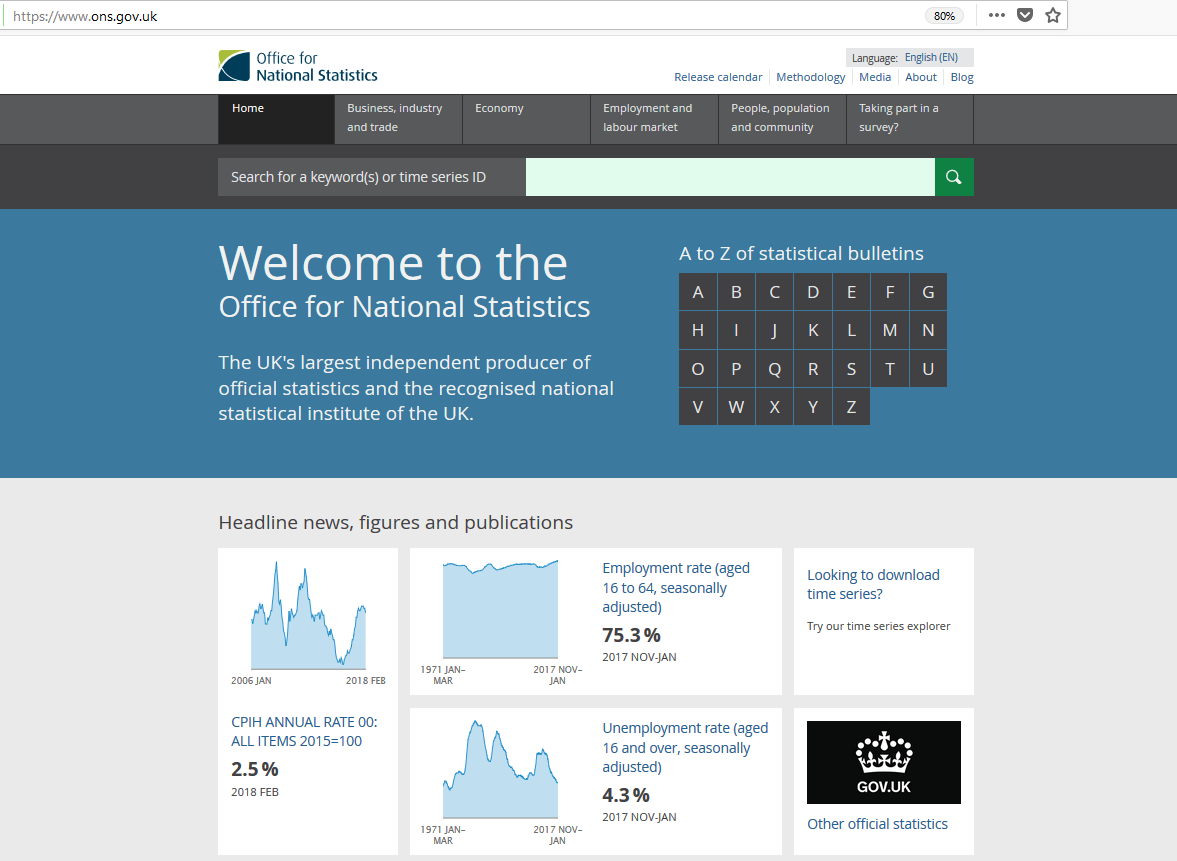 An image showing the homepage of the Office for National Statistics website.
