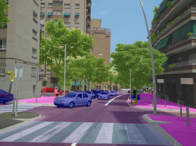 A street view image showing the technique's ability to identify vegetation in arbitrary images, in a non-geospatial context.