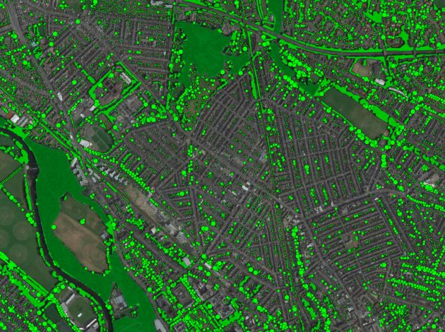 A satellite image showing results from a reconstructed vegetation index by estimating visible tree density at specific points from National Resources Wales data.