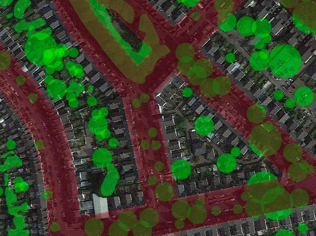 """A satellite image showing the ranking of Lower layer Super Output Areas by vegetation. It shows a relationship between the observed density of trees at street-level and overall """"greenness"""" of an area."""