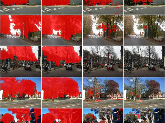 A panel of street view images showing the success of a Pyramid Scene Parsing Network model in classifying images.