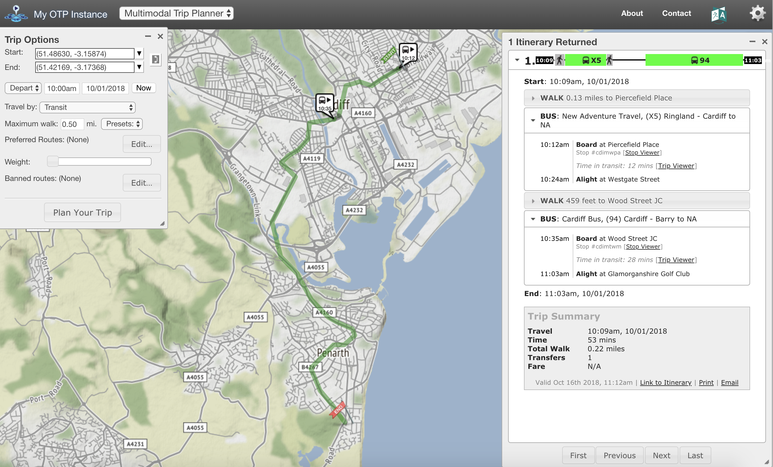 A screenshot of the multimodal trip planner where users can set their start and ending destination. This instance shows a journey across the city of Cardiff.