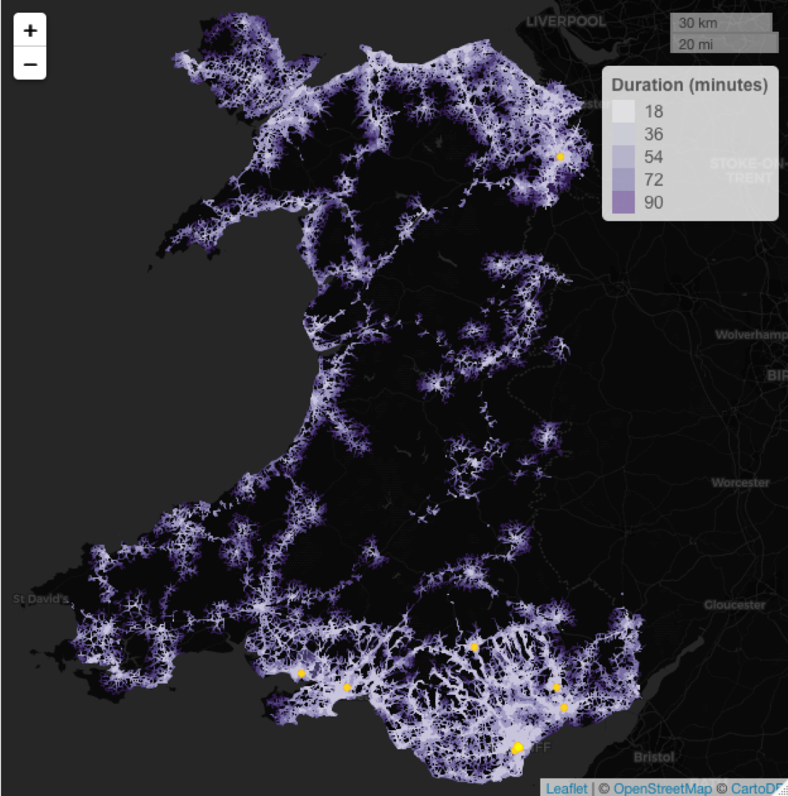 An isochrone map of Wales showing which areas of  the counry can access the ten sports venues with a capacity of greater than 10,000.