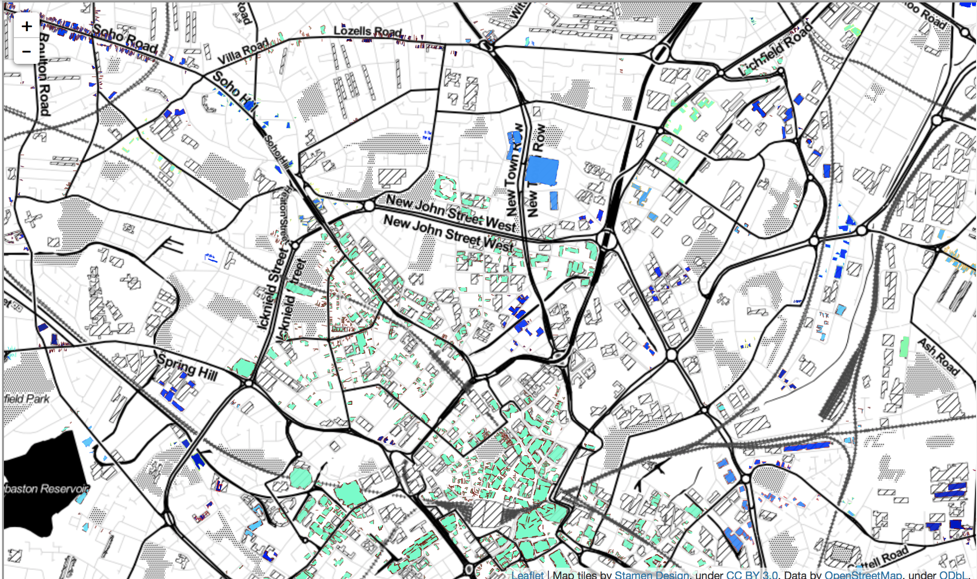 Map representation showing retail clusters for Basingstoke and Dean showing the difference between the urban city districts and the more rural and urban districts. Described under the heading Company location within retail clusters.