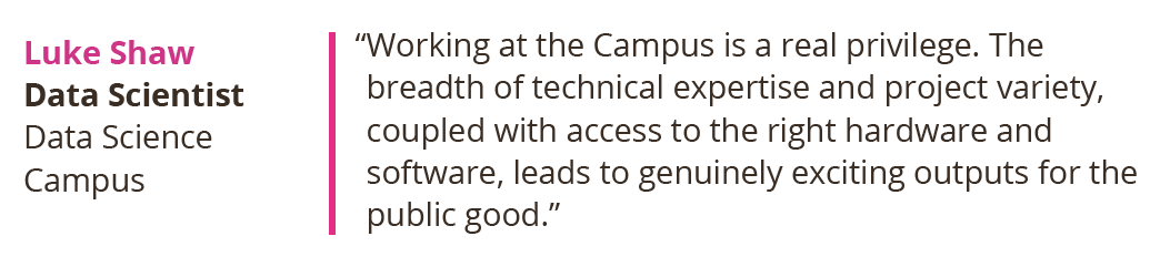 Working at the Campus is a real privilege. The breadth of technical expertise and project variety, coupled with access to the right hardware and software, leads to genuinely exciting outputs for the public good