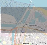 A map illustration of the rectangular bounding boxes defining the port boundaries at Grimsby.