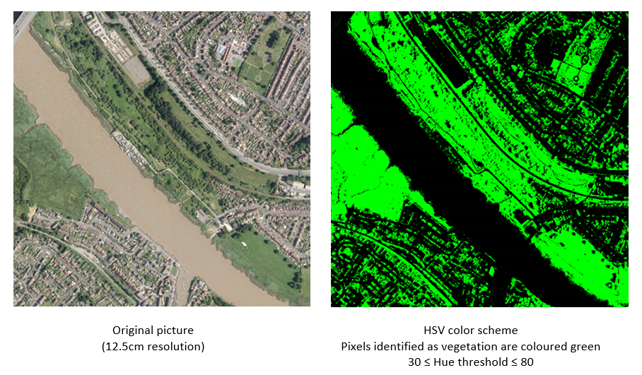 Results of the application of the HSV threshold to a selection of real-world images. In this example, a wider view over Bristol is shown.