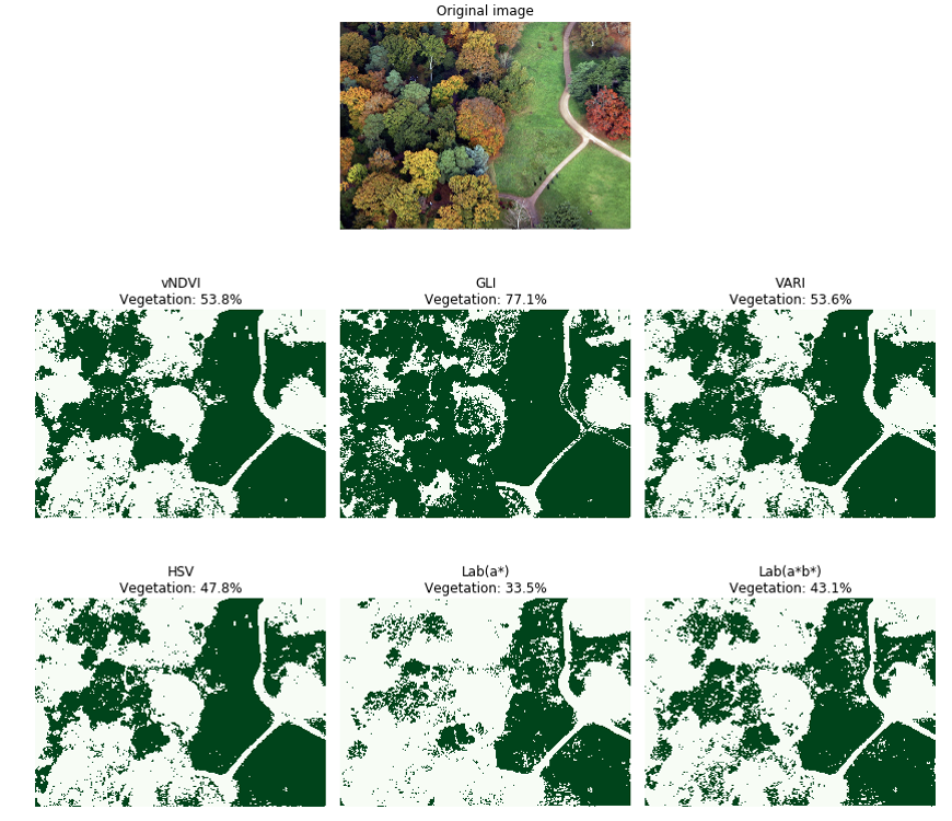 This image shows vNDVI, VARI and HSV techniques all performing well and able to classify grass in different areas of the image.