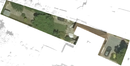 The garden polygon does not align correctly with the image, with sections of the property being included within the polygon and areas of the garden excluded