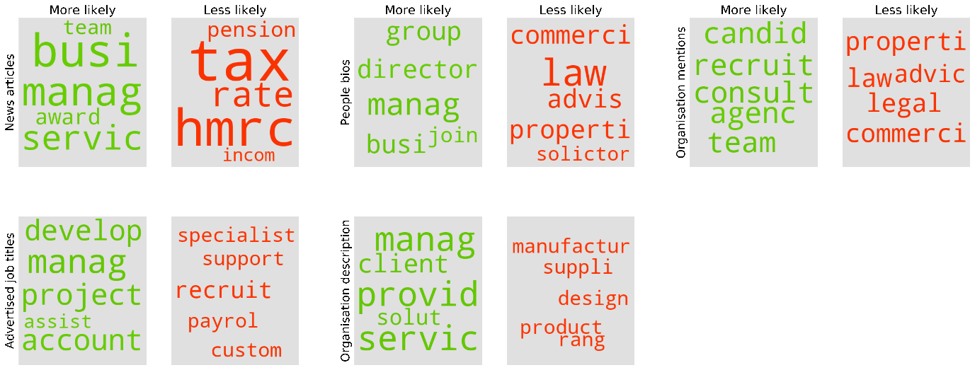 A series of topic clouds showing a summary of main words used by high-growth companies for different free text collected from their websites. Described under paragraph three.