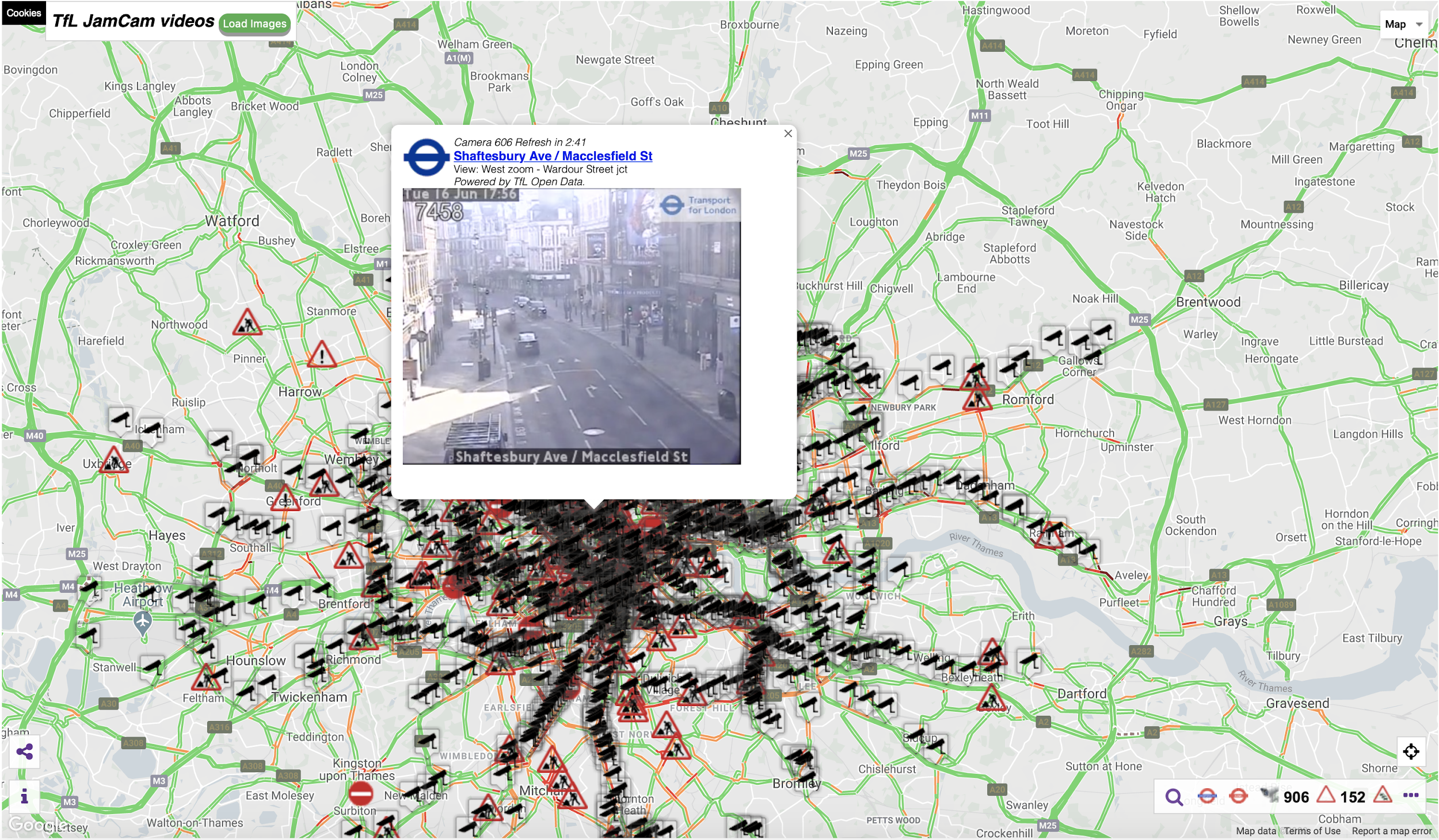 A map of London showing the distribution of CCTV traffic cameras across the city.