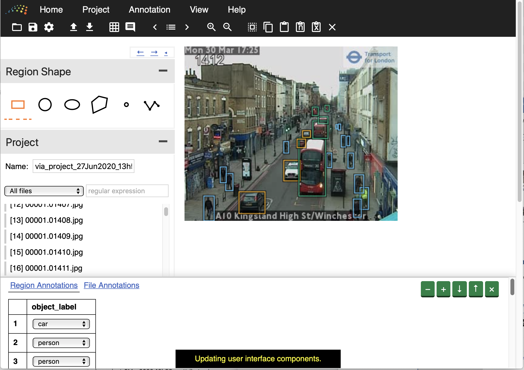 A screenshot of the image annotation application showing features being labelled in images.