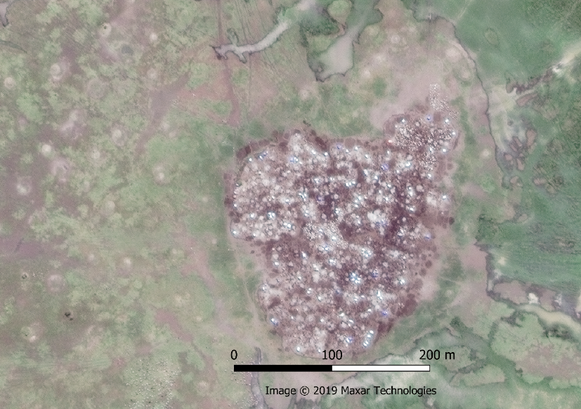 Cattle Camp seen on pan-sharpened 0.5 metre image from Maxar showing campfires and structures in the camp and, in some locations, individual cattle