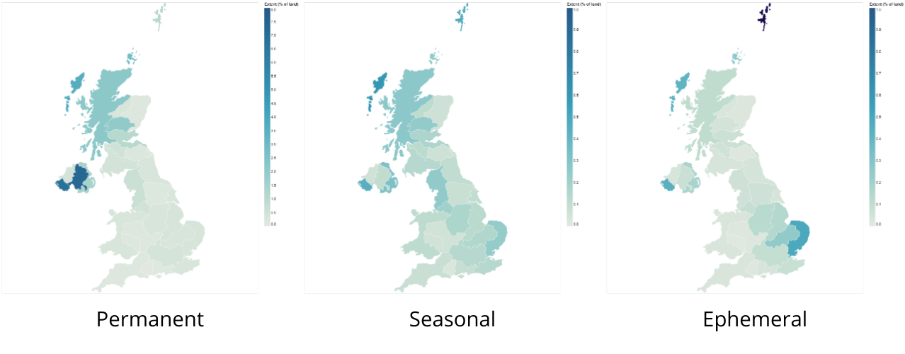 Choropleth of percentage of Permanent, Seasonal, and Ephemeral water to land area aggregated to the UK's hydrobasins.