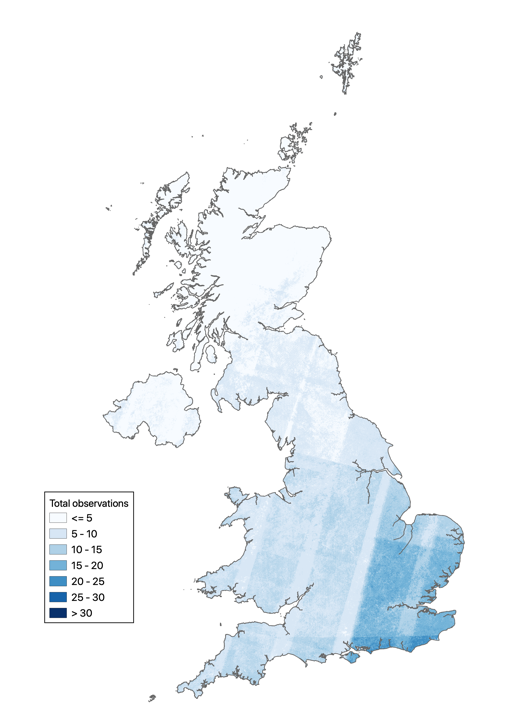 A map of the UK showing analysis of the total observations from 2004 to 2008. It shows that data availability diminishes as latitude increases, likely because of cloud cover.