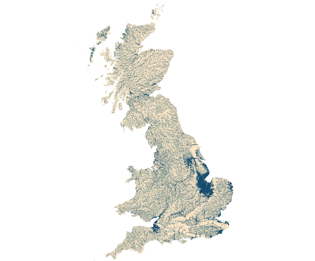 A map of the UK showing the extent of water bodies captured by Ordnance Survey data. More detail is available in section 9, paragraph 3.