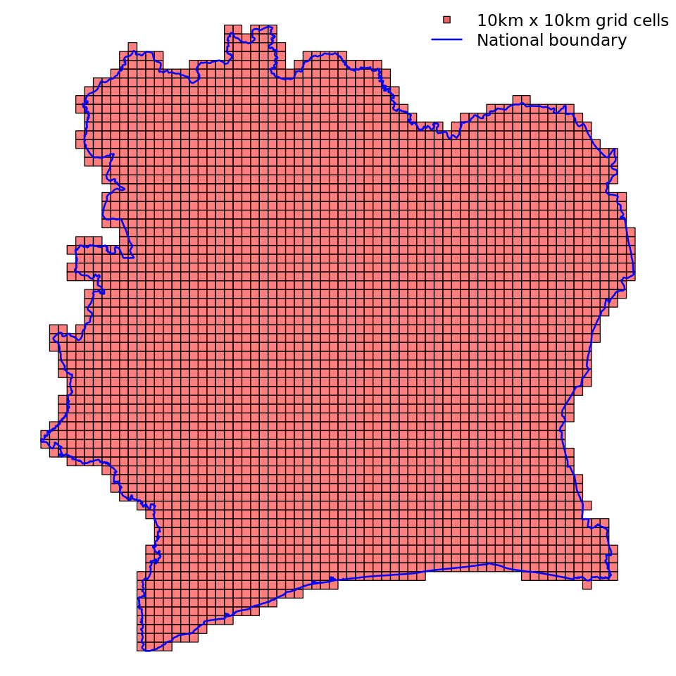 """A uniform spatial grid of 10 by 10km cells for Côte d'Ivoire. For more information see the """"Define a uniform grid section""""."""