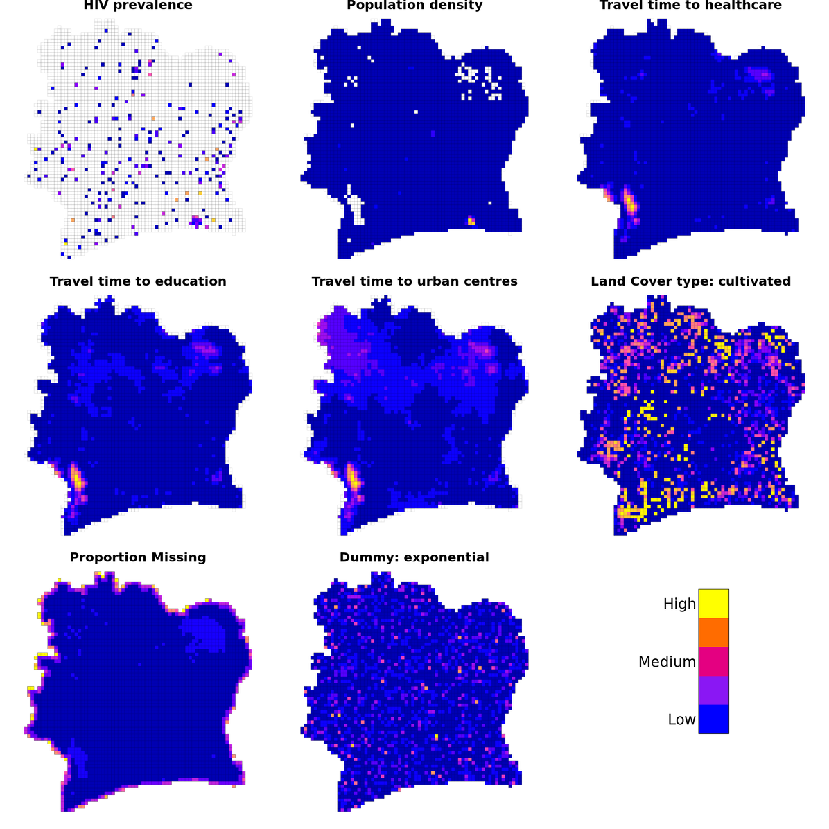 A series of heatmaps using the uniform spatial grid for Côte d'Ivoire. Each heatmap illustrates how a particular variable (For example, HIV prevalence or access to healthcare varies in space). Table 1 describes the datasets used to generate the variables shown.